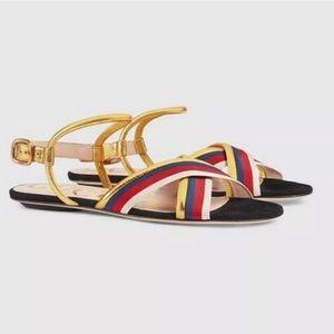 Gucci Womens Sylvie Web Gold Flat Sandal 38.5
